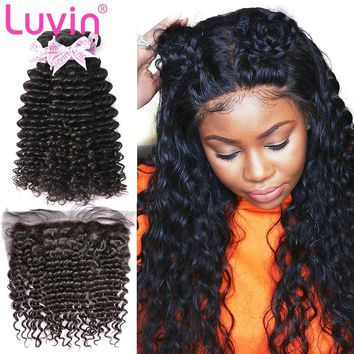 Luvin Brazilian Hair Weave Deep Wave Bundles Human Hair Extension 3 4 Bundles With Frontal Closure Remy Hair Curly Hair Bundles