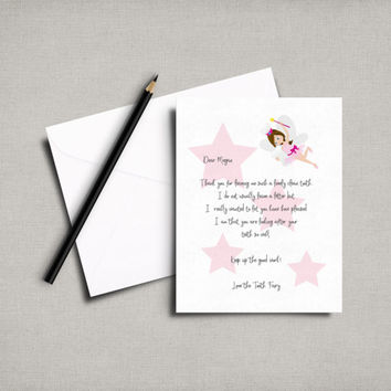 Tooth fairy letter, tooth fairy printable, personalized letter, personalised tooth, tooth fairy letter, first tooth, instant download