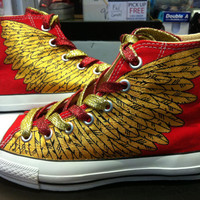 Golden wings  Red Converse by WhatShop2329 on Etsy