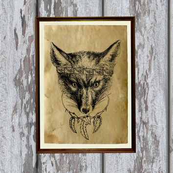 Native american fox print Tribal animal decor Canine poster 8.3 x 11.7 inches