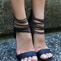 Unforgettable Nights Matte Alligator Print Strappy Black Heels