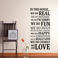 In This House Rules Wall Decal Sticker Art Vinyl Poster Print Sign for Living Dining Family Room Wall Decal