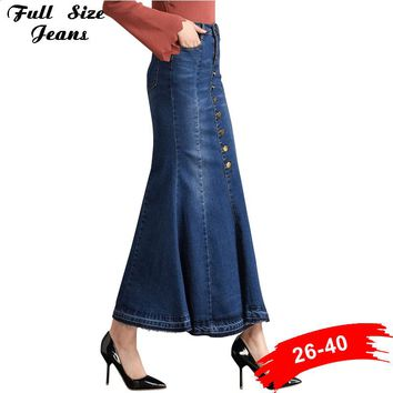 Flare Denim Long Skirts Button Up