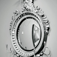 Mirror Mirror - 12x18 PHOTOGRAPHY PRINT, Black and White Museum, San Francisco, Soft Lighting, Reflection, Art History, Mysterious