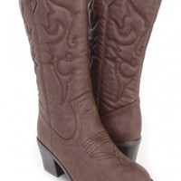 Brown Stitching Detailing Cowboy Boots Faux Leather