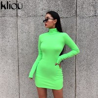 Kliou 2018 autumn women elastic skinny dress solid Fluorescence color turtleneck full sleeve thumb holes ladies casual dresses