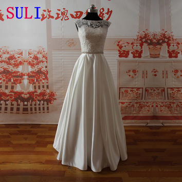 SL-022009 Elegant A-line Sweetheart Lace Bodice Beaded Belt Wedding Dress