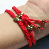 Love and Protection Red and Gold Studded Wraparound. Spiritual meaning, Inspired by Oriental beliefs, please read description for meaning.