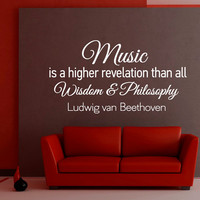 Music Wall Decals Quotes - Vinyl Lettering Music Wall Sticker Ludwig Van Beethoven Quote Art Home Decor Q009