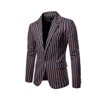 Mens Striped One Button Blazer