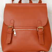 Chic Leather Backpack Purse Camel