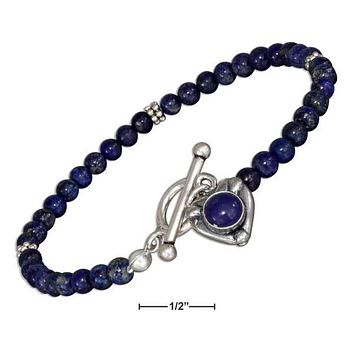 "STERLING SILVER 7"" BEADED LAPIS WITH LAPIS HEART TOGGLE BRACELET"