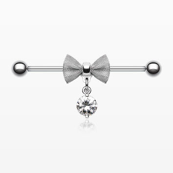 Adorable Mesh Bow-Tie Industrial Barbell