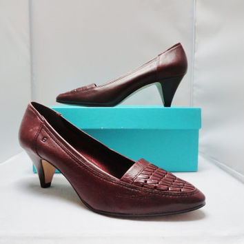 Vintage Shoes Etienne Aigner Oxblood Woven Leather High Heels DEADSTOCK Size 8 1/2 W