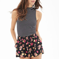 FOREVER 21 Floral Print Flowy Shorts Black/Multi