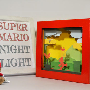 Super Mario shadow box with light - Special night light, unique special gift, geek night light, video game night light, home decor