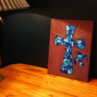 Cross oil painting on canvas blue stained glass mosaic cross dove Christian painting 11x14 signed varnished church decoration wall art