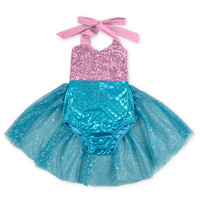 Baby Girls Sequins Tutu Summer Mermaid Baby Rompers One-Pieces Multi Color Toddler Baby Clothing