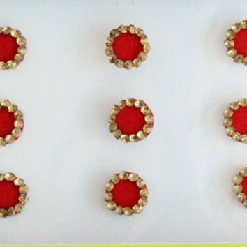 21 Bridal Red Fancy Round Bindis,Round Bindis,Velvet Red Bindis,Red Round Face Jewels Bindis,Bollywood Bindis,Self Adhesive Stickers Pack