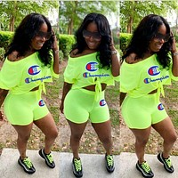 Champion Popular Woman Casual Embroidery Top Shorts Set Two Piece Green