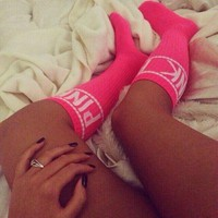 PINK Fashion Sport Gym Stretch Socks Stockings