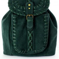 Dark Green Knit Backpack with Metal Hardware & Flap Closure