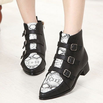 2014 Fall Spring High Fashion Designer Brand For Women Black Jimmy** Shoes Pointed Toe Flat Snakeskin Boots Ankle Booties