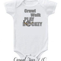Hockey Baby Crawl Walk Play Hockey Funny Baby Bodysuit