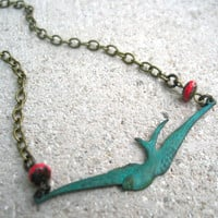 verdigris bird necklace