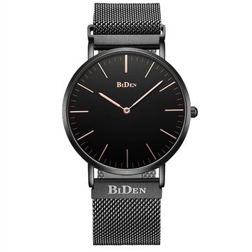 BIDEN Watch Mens Women Luxury Stainless Steel Magnetic Mesh Milanese Bracelet Waterproof Watch