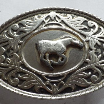 Oval Silver tone with Silver tone Horse Belt Buckle Vintage