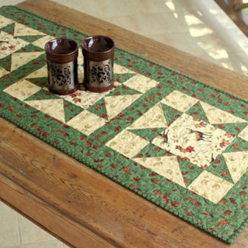 Quilted Table Runner, Fall Table Runner, Autumn Leaves, Deer Table Runner, Autumn Table Topper, Green Off White Runner, Thanksgiving