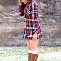 Draped in Plaid Dress