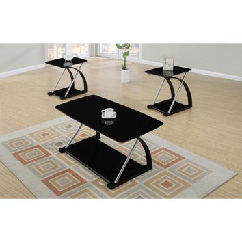3 Piece Metal And Glass Coffee Table Set Black
