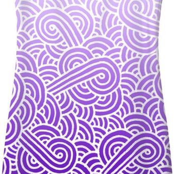 Ombre purple and white swirls doodles Simple Dress