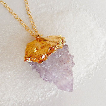 Amethyst Spirit Quartz Druzy Necklace Cactus Quartz 24K Gold Pendant- Free Shipping OOAK Jewelry