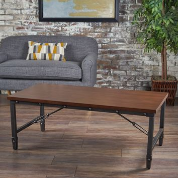 Ines Industrial Dark Walnut Finished Wood with Pine Veneer Overlay Coffee Table