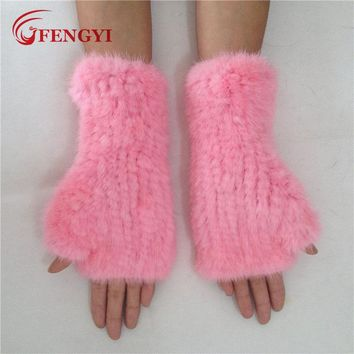 FENGYI Mittens real mink fur gloves in candy colors. Elastic fingerless gloves.