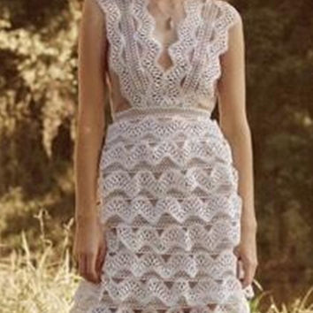 White Cutwork Lace Contrast Lined Sleeveless Dress