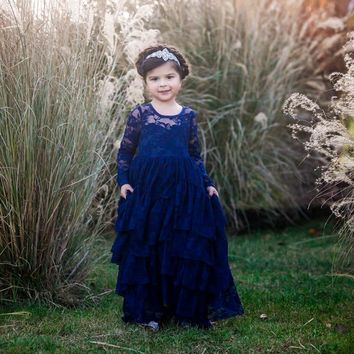 Coralee Navy Blue Long Sleeve Lace Layers Ruffle Skirt Lace Gown Dress