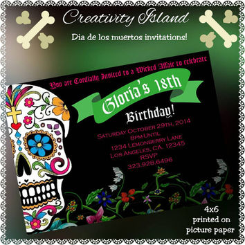 Dia de los muertos Birthday Invitations. 4x6, picture paper, printed and shipped! Skull, Halloween, Spooky, invites.
