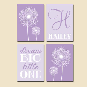 Purple Lilac DANDELION Nursery Wall Art Dream Big Little One Baby Girl Nursery Wall Art Girl Bedroom Wall Art Girl Nursery Decor Set of 4