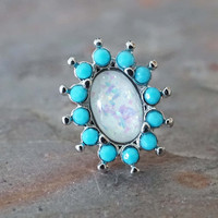 Opal and Turquoise Tragus Earring Cartilage Earring