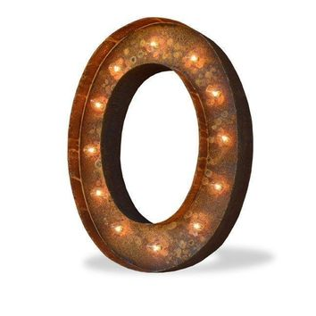 "36"" Letter O Lighted Vintage Marquee Letters (Modern Font/Rustic)"