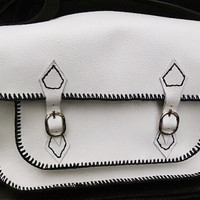 SALE white leather school satchel handmade