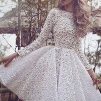 White Lace Long Sleeves Homecoming Dress