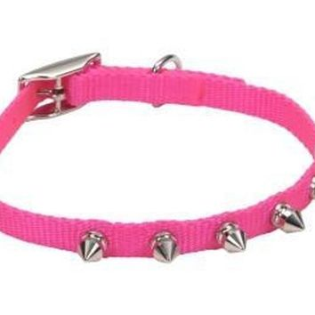 "Lil Pals Spiked Nylon Puppy Collar 3/8"" x 10"" Pink"
