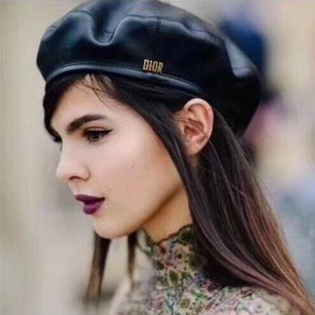 DCCK6HW Dior' Women Casual Hat Fashion Classic Letter Logo Leather Beret Cap Painter Cap