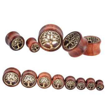 ac ICIKO2Q 1 Pc! The Tree Of Life Saddle Fit Ear Plug Wood Flesh Tunnel Organic Body Ear Expander Fashion Piercing Earring Fashion Jewelry