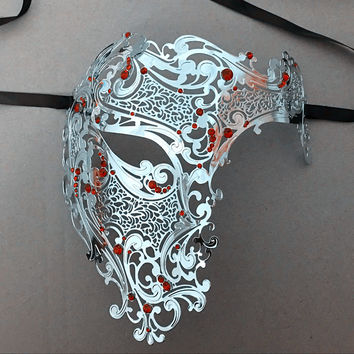 Devil Black Half Face Skull Halloween Horror Filigree Party Mask Silver Red Rhinestones Skeleton Metal Prom Ball Masquerade Mask